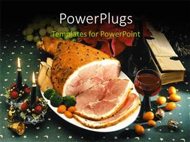 PowerPlugs: PowerPoint template with dish of roasted meat for Christmas with ornaments and candles for decoration