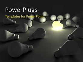 PowerPoint template displaying distinct light bulb lit among others on Grey background