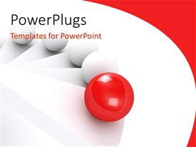 PowerPlugs: PowerPoint template with distinct red sphere among other white spheres over white background