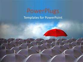 PowerPlugs: PowerPoint template with distinct red umbrella above ash colored umbrella over cloudy sky