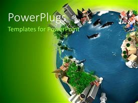 PowerPlugs: PowerPoint template with diverse ecology and nature on earth,  with green color