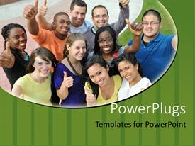 PowerPlugs: PowerPoint template with diverse group of smiling people giving thumbs up gestures