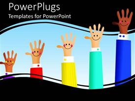 PowerPlugs: PowerPoint template with diverse hands with smiley faces, work place diversity