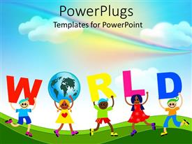PowerPlugs: PowerPoint template with diverse kids holds letters to spell world and one holding a globe unity rainbow sky background