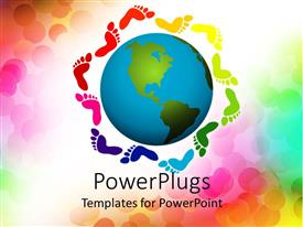 PowerPlugs: PowerPoint template with diversity metaphor with rainbow footprints surrounding Earth globe world