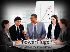 PowerPlugs: PowerPoint template with diversity theme with business people sitting at conference table with budget graph background