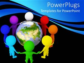 PowerPlugs: PowerPoint template with diversity and unity theme with rainbow colored people holding hands around globe world Earth