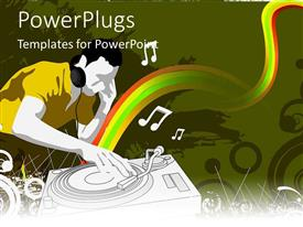 PowerPoint template displaying dJ playing music on decks in colorful background with music notes