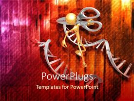 PowerPlugs: PowerPoint template with dNA molecules cut in middle by man with scissors
