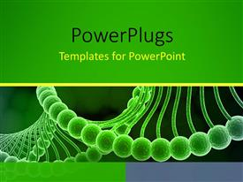 PowerPlugs: PowerPoint template with a magnified view of a spiral green colored DNA strand