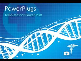 PowerPlugs: PowerPoint template with a DNA structure with bluish background and place for text