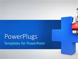 PowerPlugs: PowerPoint template with medical professional with first aid box sits on large blue cross
