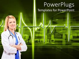 PowerPoint template displaying doctor on background of glowing heartbeat pulse over steaming digital data