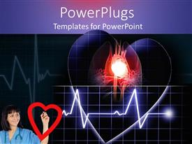 PowerPlugs: PowerPoint template with doctor in blue with a wave line from a beating heart