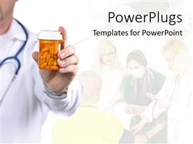 PowerPoint template displaying a doctor with capsules and the reflection in the background
