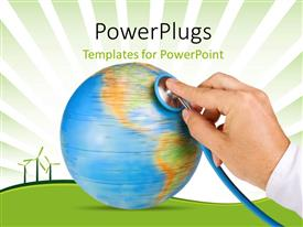 PowerPlugs: PowerPoint template with a doctor checking the globe with windmills in the background