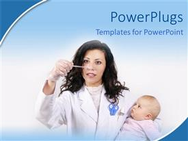 PowerPlugs: PowerPoint template with a doctor checking the health condition of a child