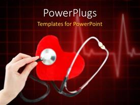 PowerPlugs: PowerPoint template with a doctor checking a heart with heartbeat line in background