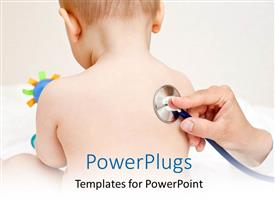 PowerPlugs: PowerPoint template with a doctor checking the kid with stethoscope