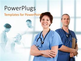 PowerPlugs: PowerPoint template with a doctor and his colleague with treatment in background