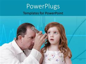 PowerPoint template displaying doctor examining ear of young girl with medical equipment