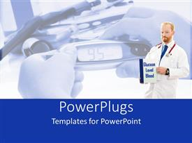 PowerPoint template displaying a doctor with a glucose level report and various equipment in the background