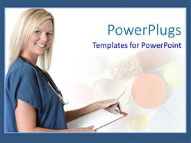 PowerPlugs: PowerPoint template with a doctor with a health sheet and smile