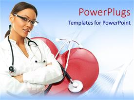 PowerPlugs: PowerPoint template with a doctor with heart abs stethoscope in the background