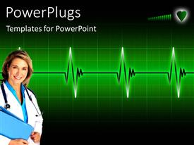 PowerPlugs: PowerPoint template with a doctor with a heartbeat line in the background