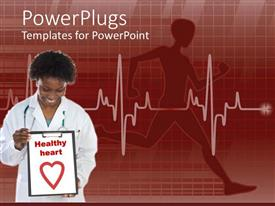 PowerPlugs: PowerPoint template with a doctor holding the sign of healthy heart with heartbeat line in the background