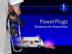 PowerPoint template displaying doctor holding a stethoscope with an ambulance moving fast