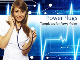PowerPlugs: PowerPoint template with a doctor holding a stethoscope and heartbeat line in the background
