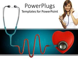 PowerPoint template displaying a doctor holding the stethoscope with a stethoscope attached to a heart below