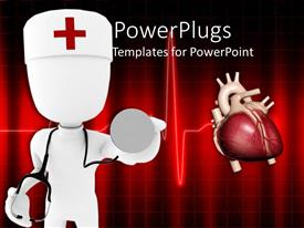 PowerPoint template displaying doctor holding stethoscope tests for heart rhythm on red background