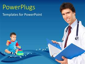 PowerPoint template displaying a doctor with a kid and bluish background