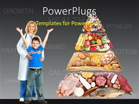 PowerPlugs: PowerPoint template with a doctor with a kid and a lot of healthy food