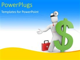 PowerPlugs: PowerPoint template with doctor leaning towards green dollar symbol with first aid kit