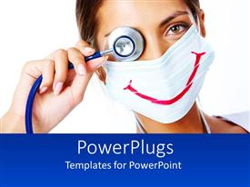 PowerPoint template displaying a doctor making a funny face with white background