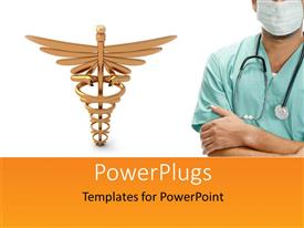 PowerPlugs: PowerPoint template with a doctor with a medical sign in the background