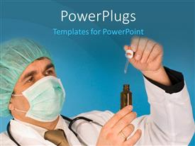 PowerPlugs: PowerPoint template with doctor with nose mask and stethoscope around neck holds medicine in hand