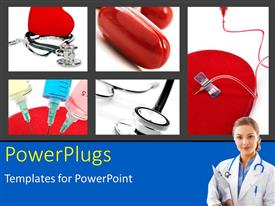 PowerPlugs: PowerPoint template with a doctor with a number of medicines in the background