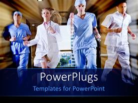 PowerPlugs: PowerPoint template with doctor and nurse running in hallway of hospital