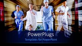 PowerPoint template displaying doctor and nurse running in hallway of hospital