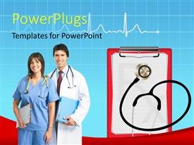 PowerPlugs: PowerPoint template with a doctor and a nurse standing together and smiling