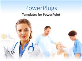 PowerPlugs: PowerPoint template with doctor nurse with stethoscope and clipboard, patients, medical care
