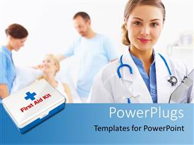 PowerPlugs: PowerPoint template with a doctor with a patient in the background