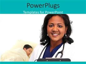 PowerPoint template displaying a doctor with a patient in the background