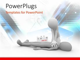 PowerPlugs: PowerPoint template with doctor performing CPR first aid on human with first aid box and medical symbol in background
