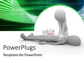 PowerPlugs: PowerPoint template with doctor performing CPR first aid on human with first aid box in background