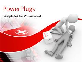 PowerPlugs: PowerPoint template with doctor performing CPR first aid on human, carrying first aid box with medical symbol in background